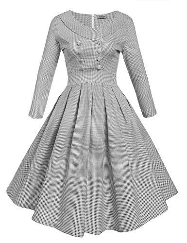 Acevog 50s retro jurk voor dames, jaren '50, vintage, rockabilly, partyjurk, halve mouwen, cocktailjurk, elegant, zomerjurken, maat S-XXL