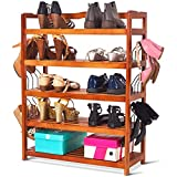 Tangkula 5-Tier Shoe Rack, Wooden Shoe Tower Cabinet, Utility Durable Space Saving Shoe Storage Organizer Unit Entryway Shelf with 6 Pairs Side Shoe Stretcher (deep Color)