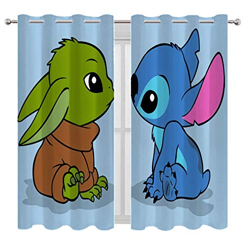 Decor Creative Home Decorative Living Room Stitch and Baby Yoda Curtains for Bedroom Boys Room W63xL63 Inch