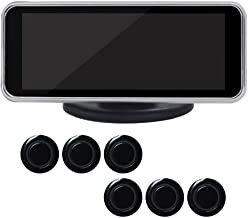 LCD Digital Sensor de Aparcamiento Kit Delantero y Trasero Coche Marcha Atrás Soporte Radar Sistema, 6/8 con Pantalla LED Sonido Aviso - Negro 6 Sondas, Free Size