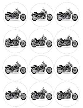 Single Source Party Supplies - 2.5  Harley Davidson Motorcycle Cupcake Edible Icing Image Toppers #1