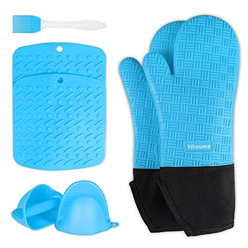 Yihoume Silicone Oven Mitts and Pot Holders Sets,500℉ Heat Resistant Non-Slip Waterproof Durable...