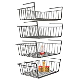 Under Shelf Basket, 4 Pack Black Wire Rack, Slides Under Shelves for Storage Space on Kitchen Pantry Desk Bookshelf Cupboard