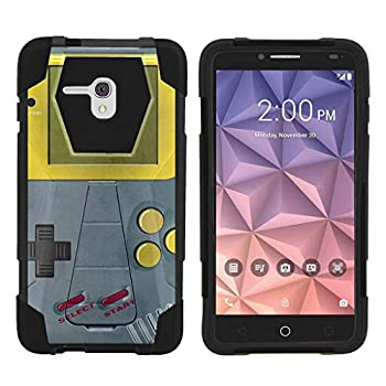 TurtleArmor | Compatible with Alcatel One Touch Fierce XL Case | Flint Case [Dynamic Shell] Dual Hybrid Hard Impact Silicone Cover Kickstand Sports Video Games - Gray Gameboy