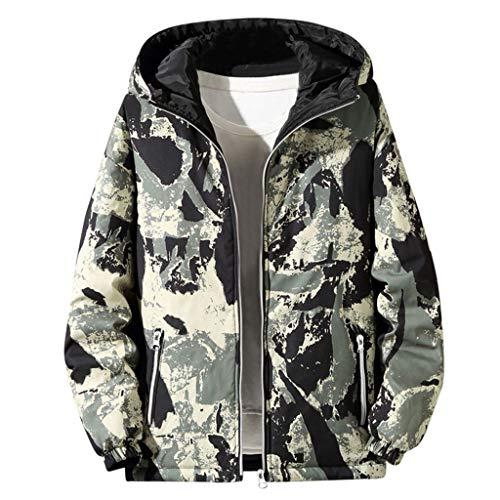 MAYOGO Herrenjacke Wendejacke Herren Camouflage Softshell Jacke Herren Winter Steppjacke Daunen Jacke Winterjacke mit Kapuze Große Größen (Grün, XXL)