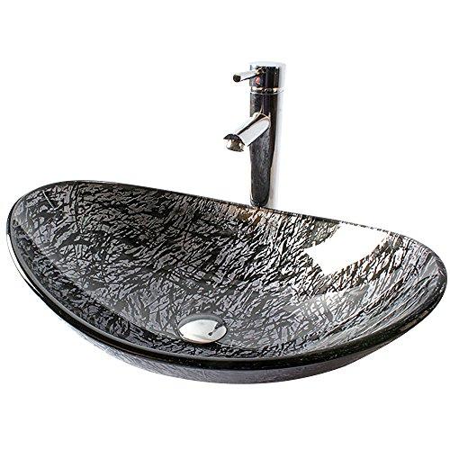HomeLava Aufsatzwaschbecken Modern Gehärtetes Glas Oval Waschbecken mit Ablaufgarnitur, Montagering