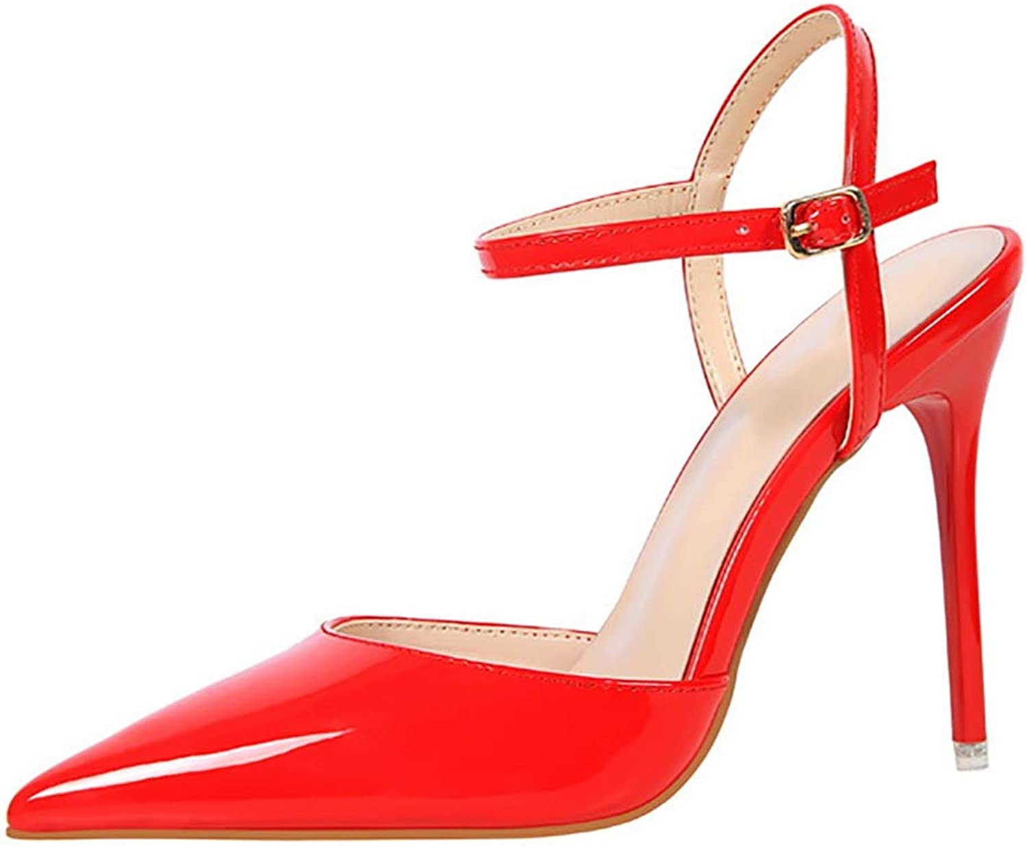 CHEXIAO Women's High Heels, Stiletto Pointed Simple Ultra High with Shallow Patent Leather Sexy Thin Female Sandals in A Variety of colors (color   Red, Size   40)