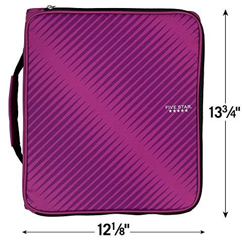 Five Star Zipper Binder, 2 Inch 3 Ring Binder, 6-Pocket Expanding File, Durable, Berry Pink/Purple (72540) Photo #3