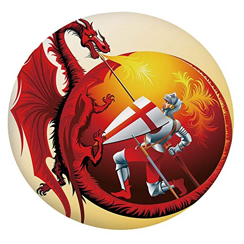 Elastic Edged Polyester Fitted Table Cover,Saint George with Fire Spitting Winged Creature Royal Knight Graphic Decorative Tablecloth,Fits Round Tables 36-40',for Dining Rooms and Kitchens Silver Ruby
