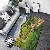 Kitchen Mat for Living Room Landscape,Hillside Meadow Cloudy Sky Fence Near The Cross Road with Fir Trees on Both Sides,Green Blue 80 x 58 in Rugs for Sale