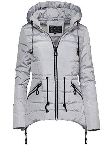 Trisens Damen Jacke FRÜHLING ÜBERGANG Sommer STEPP Jacke DAUNEN Look NEU, Farbe:Grau, Größe:S