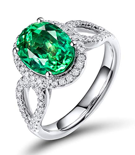 AtHomeShop Real Gold Collection, 18K White Gold Rings, Oval Proposal Rings with Sparkling Oval Emerald and Diamond Marriage Proposal Ring Gift for New Year and Valentine's Day, Polished White Gold