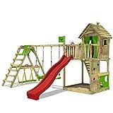 FATMOOSE Spielturm Klettergerüst HappyHome Hot XXL mit Surf-Anbau, Schaukel & roter Rutsche, Baumhaus mit großem Sandkasten, Kletterwand & viel Spiel-Zubehör