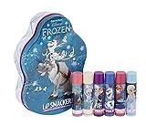 Lip Smacker Bálsamo labial de Disney Frozen: Luces de invierno, diseño de Olaf/Sven, Set de 6unidades en un estuche de metal