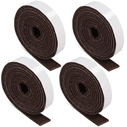 1/2 x 60 Inch Felt Strips with Adhesive Backing Self-Stick Heavy Duty Felt Tapes Polyester Felt Strip Rolls for Protecting Furniture and Freedom DIY Adhesive (Brown,4 Rolls)