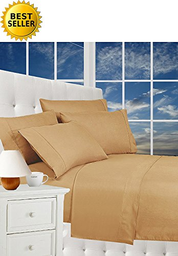 Warm Taupe King RDM Koncept Elegance Collection T310 Sheet Set Solid Combed Cotton Sateen