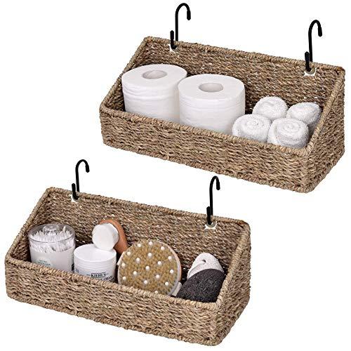 StorageWorks Woven Baskets for Storage, Seagrass Storage Baskets for Shelf, Bathroom Storage Basket, Hanging Baskets for Organizing, 15