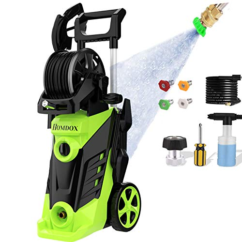 Power Washer, Homdox Pressure Washer 3490 PSI Electric High Pressure Washer Professional Washer Cleaner Machine with 4 Nozzles, Detergent Tank and Hose Reel, 2.6GPM,1800W(Green)
