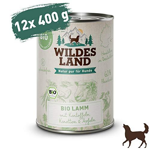 Wildes Land | Nassfutter für Hunde | Bio Lamm | 12 x 400 g | Getreidefrei & Hypoallergen | Extra hoher Fleischanteil von 60% | 100% zertifizierte Bio-Zutaten | Beste Akzeptanz und Verträglichkeit