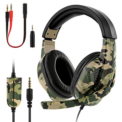 Best-ycldcyp Over-Ear/On Ear Headphones Camouflage Gaming Headset Super Bass 3.5mm Wired Noise Cancelling Headphones Game Headphone with Mic Converter Cable for PS4 Xbox PC