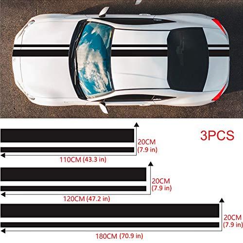 CXJUN Etiquetas engomadas del capó del Coche Racing Stripes Styling Calcomanías de Vinilo para el capó del Coche Cuerpo del capó Techo Pegatinas Deportivas Accesorios de decoración de automóviles
