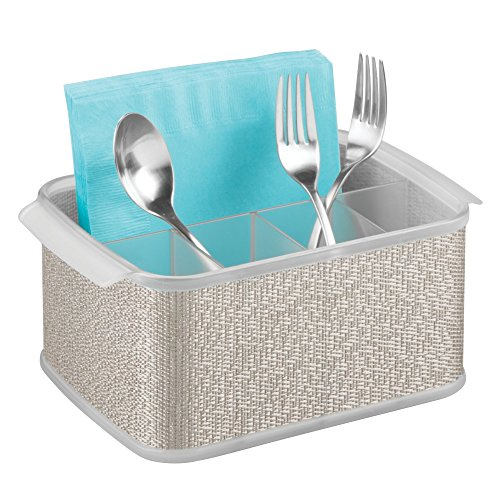 iDesign Twillo Plastic Silverware Caddy Organizer Flatware Caddy for Kitchen Countertop Storage, Dining Table, Outdoor Patio, Picnic Tables, Metallico and Clear