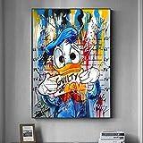 Ayjxtz Puzzle 1000 Piezas Dibujos Animados Populares Graffiti Callejero Donald Duck Dibujo artístico Puzzle 1000 Piezas Rompecabezas de Juguete de descompresión Intelectual educ50x75cm(20x30inch)
