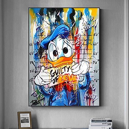 Ayjxtz Puzzle 1000 Teile Cartoon beliebte Straßengraffiti Donald Duck Kunstzeichnung Puzzle 1000 Teile Pädagogisches intellektuelles Dekomprimieren von Spielzeugrätseln Lustiges50x75cm(20x30inch)