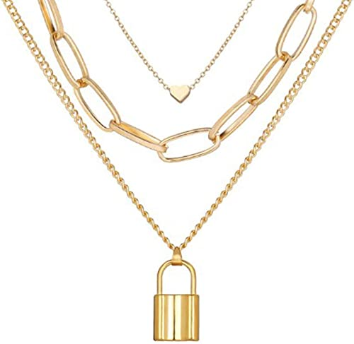 Gold Plated Trending Lock Inspired Layered Necklace Set