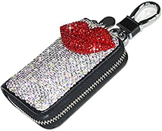 Bestbling Bling Bling Car Key Holder 3D Handmade Leather Auto Key Case Car Key Gourd Leather Holder Cover Case with Luxury Bling Crystal Diamond Rhinestones (Lips Red)