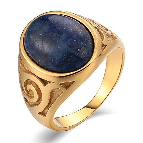 AmDxD Goldring Herren, Oval Pattern Trauringe Günstig, mit Blau Opal Oval, für Ihn-Herren-Schmuck Männer, Gold Gr. 60 (19.1)