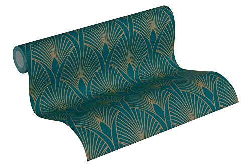 Livingwalls Vliestapete New Walls Tapete 50's Glam Art Deco Optik 10,05 m x 0,53 m metallic blau grün Made in Germany 374275 37427-5