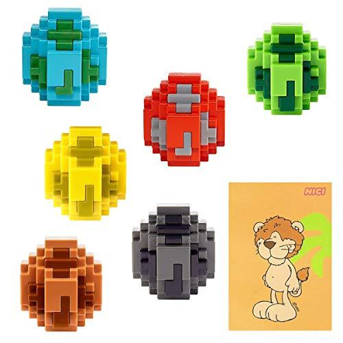 Rappelkiste Spielwaren Spar-Set 182575 - Minecraft - 6 Spawn-Eier, mehrfach Sortiert, garantiert 6 Verschiedene Minifiguren Plus A7 Löwen-Notizblock