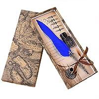 Songowe書道ペンディップライティングペンペンペンの交換のヒントディップペンライティングペンセットインクkセット付きライティングペンビンテージペンペンインクセット旧文字ブルー