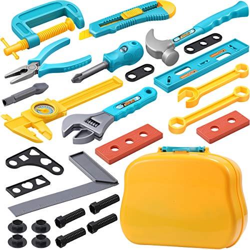 GeyiieTOYS Kinderwerkzeug, 28 Stücke Werkzeugset Werkzeugkoffer Werkzeug Spielzeug Set Pädagogisch und Rollenspiel für Kleinkinder Mädchen Jungen ab 3 4 5 jährige