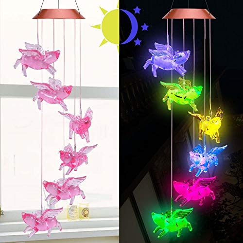 ME9UE Solar Fly Pigs Wind Chimes, Outdoor Waterproof Mobile Romantic LED Multi Color-Changing Solar Sensor Powered Lights for Home, Yard, Night Garden, Party, Valentines Gift, Festival Decor