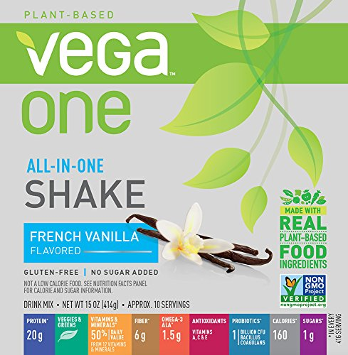 Vega One All-in-One French Vanilla (10 Servings) - Plant Based Vegan Protein Powder, Non Dairy, Gluten Free, Non GMO, 15 Ounce (Pack of 1)