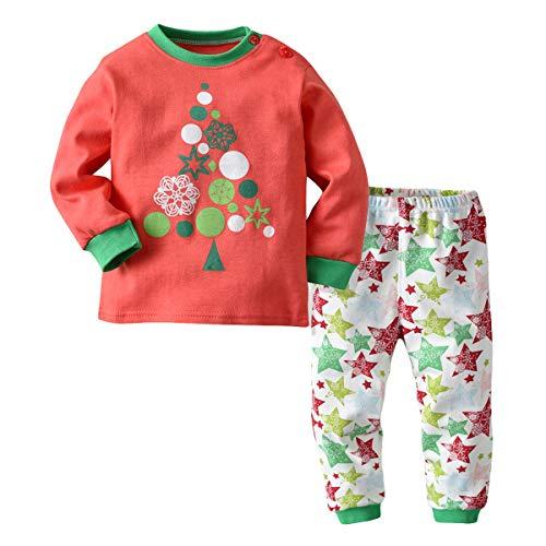 Wahyou® Mädchen Jungen Schlafanzüge Kinder Langarm Zweiteiliger Baumwolle Kinder Weihnachten Pyjama Zweiteiliger Nachtwäsche 90 92 98 104 100 110 116 122 Nachtwäsche Set/Super elastisch
