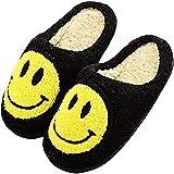 GYYlucky Pantoufles à Enfiler Chaudes et Confortables en Peluche,Visage Souriant,Pantoufles Mignonnes et moelleuses rétro pour Femmes pour l'intérieur et l'extérieur (Color : Black, Size : 41/42EU)