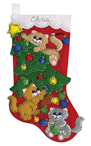 Design Works Crafts Kit de calcetín de Fieltro Bordado decoración de Gatitos, Multicolor