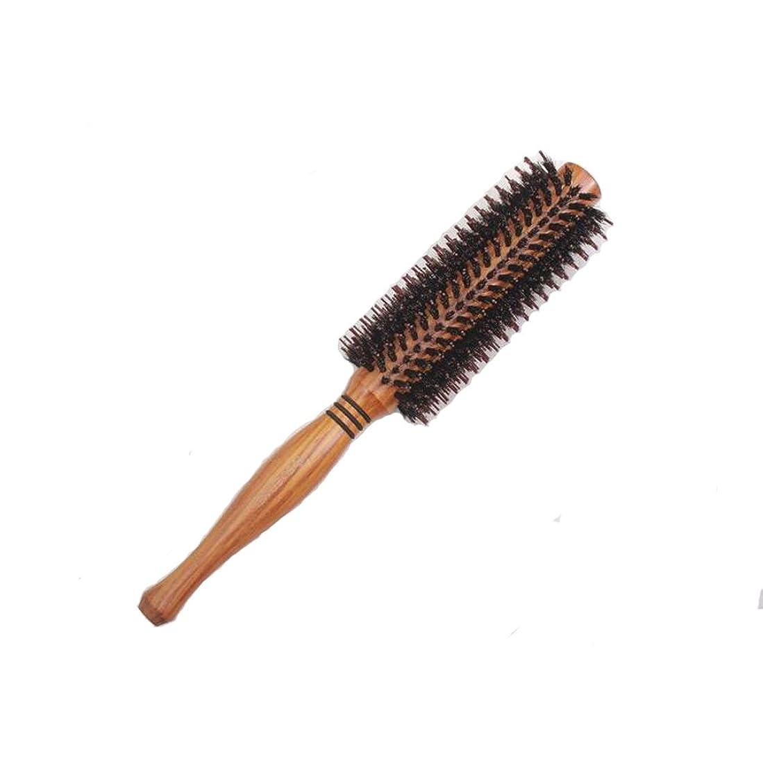 木材指州天然ロールブラシ 豚毛 耐熱仕様 ブロー カール 巻き髪 ヘア ブラシ ロール