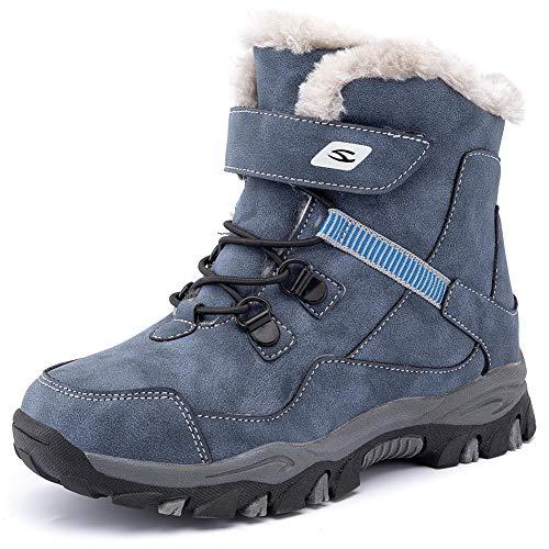 HOBIBEAR Kids Snow Boots Boys Girls Winter Boots Outdoor Warm Shoes Waterproof Hiking Boots(Little Kid/Big Kid) Blue 12
