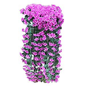St Patrick's Day,Easter Hanging Flowers Artificial Violet Flower Wall Wisteria Basket Hanging Garland Vine Flowers Fake Silk Orchid