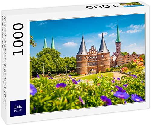 Lais Puzzle Historisk stad Lübeck med den berömda Holstentporten på sommaren, Schleswig-Holstein, norra Tyskland 1000 delar