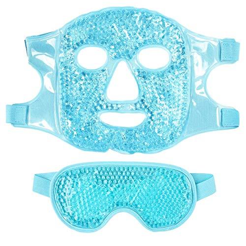 Kaxofang 1 Juego Mascarilla para Ojos Gel de Hielo + Juego de Mascarilla Reutilizable para Terapia de FríO Caliente Calmante Relajante Gafas de Hielo para Dormir para Dormir Azul