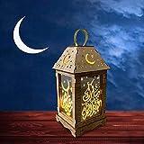 Ramadan Farol oriental decorativo, farolillo de madera, farolillo marroquí, farolillo decorativo colgante, luces LED sin batería, lámpara para musulmanes (A)