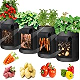 Potato Grow Bags Tomato Grow Bag, 4 Pack Vegetable Grow Bags Breathable Fabric Garden Growing Bag with Handle and Access Flap for Tomato, Carrot, Strawberry, Fruits, Flower Garden Pots (4 GAL,Black)