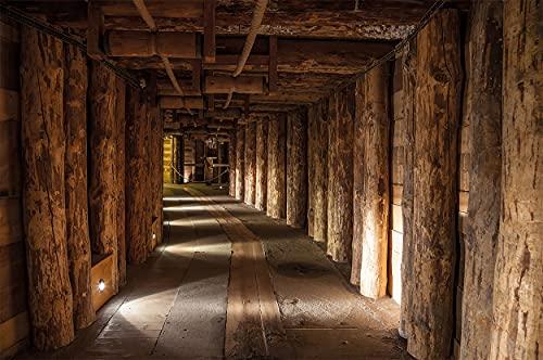 GREAT ART Fototapete Salzbergwerk Salzmine Wieliczka Polen 210 x 140 cm – Unesco Weltkulturerbe Untertage Bergwerk Holz-Balken Salt Mine – 5 Teile Tapete inklusive Kleister