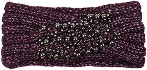 styleBREAKER Damen Strick Stirnband mit Twist, Knoten und Perlen, Winter Haarband, Headband gestrickt 04026022, Farbe:Bordeaux-Violett