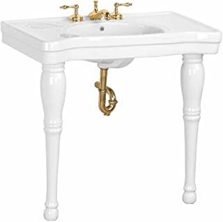 Renovator's Supply Console Bathroom Sink Elegant White Spindle Leg With Porcelain Grade A Vitreous China Scratch And Stain Resistant Sink Widespread Faucet Holes